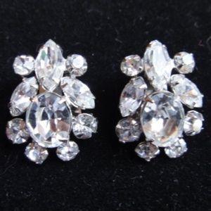 Vintage 50's Rhinestone Clip Earrings